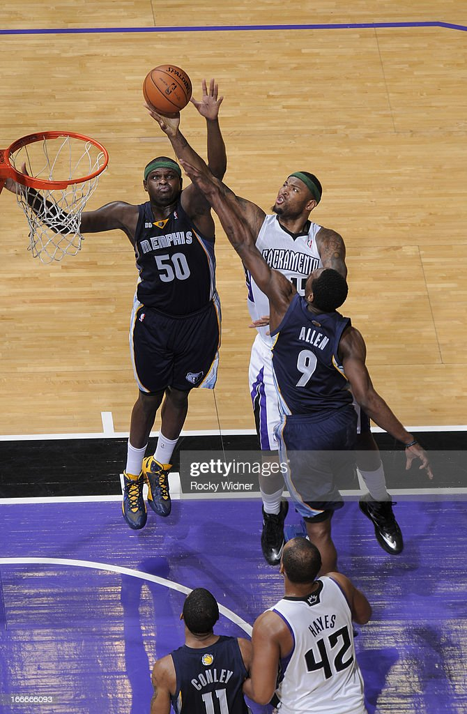 <a gi-track='captionPersonalityLinkClicked' href=/galleries/search?phrase=DeMarcus+Cousins&family=editorial&specificpeople=5792008 ng-click='$event.stopPropagation()'>DeMarcus Cousins</a> #15 of the Sacramento Kings shoots against <a gi-track='captionPersonalityLinkClicked' href=/galleries/search?phrase=Zach+Randolph&family=editorial&specificpeople=201595 ng-click='$event.stopPropagation()'>Zach Randolph</a> #50 and Tony Allen #9 of the Memphis Grizzlies on April 7, 2013 at Sleep Train Arena in Sacramento, California.