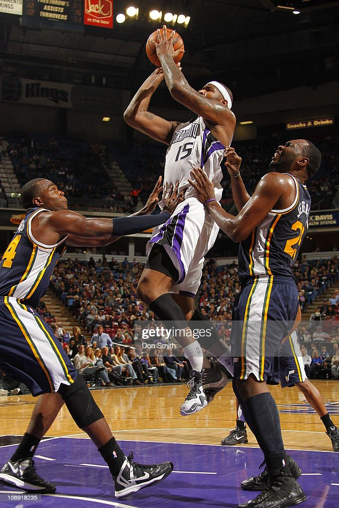 <a gi-track='captionPersonalityLinkClicked' href=/galleries/search?phrase=DeMarcus+Cousins&family=editorial&specificpeople=5792008 ng-click='$event.stopPropagation()'>DeMarcus Cousins</a> #15 of the Sacramento Kings shoots the ball against <a gi-track='captionPersonalityLinkClicked' href=/galleries/search?phrase=Paul+Millsap&family=editorial&specificpeople=880017 ng-click='$event.stopPropagation()'>Paul Millsap</a> #24 and <a gi-track='captionPersonalityLinkClicked' href=/galleries/search?phrase=Al+Jefferson&family=editorial&specificpeople=201604 ng-click='$event.stopPropagation()'>Al Jefferson</a> #25 of the Utah Jazz on November 24, 2012 at Sleep Train Arena in Sacramento, California.