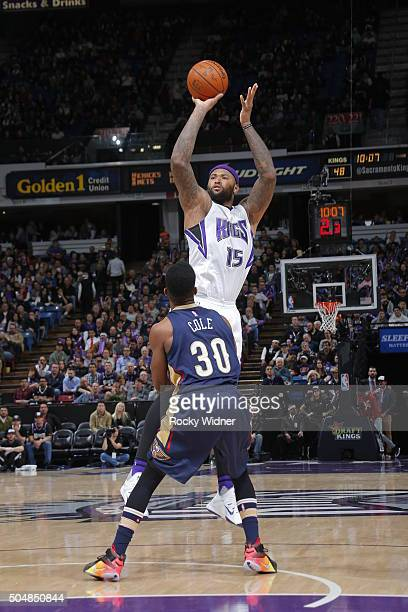 DeMarcus Cousins of the Sacramento Kings shoots the ball against the New Orleans Pelicans on January 13 2016 at Sleep Train Arena in Sacramento...