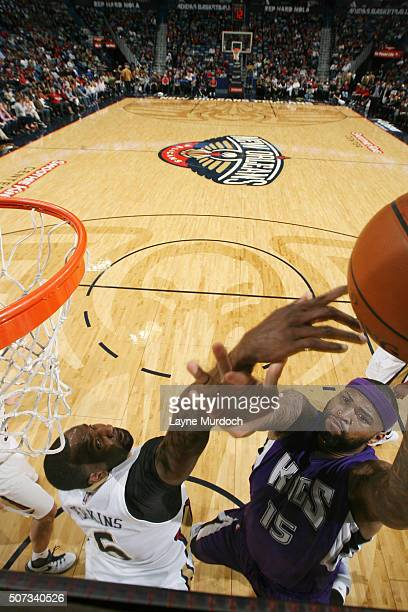DeMarcus Cousins of the Sacramento Kings shoots the ball against the New Orleans Pelicans on January 28 2016 at the Smoothie King Center in New...