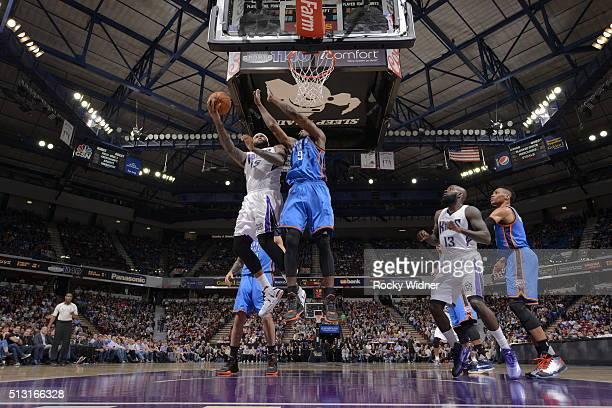 DeMarcus Cousins of the Sacramento Kings shoots the ball against the Oklahoma City Thunder at Sleep Train Arena on February 29 2016 in Sacramento...