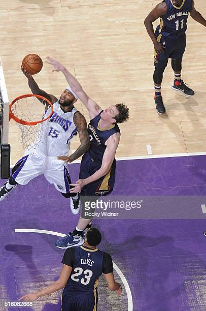 DeMarcus Cousins of the Sacramento Kings shoots the ball against the New Orleans Pelicans on March 16 2016 at Sleep Train Arena in Sacramento...