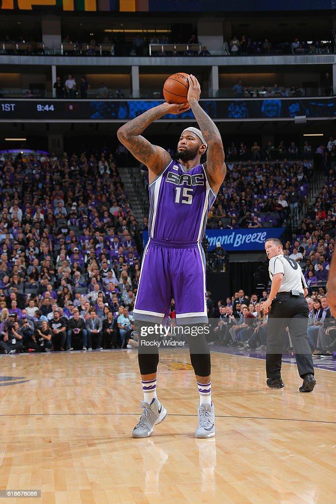 DeMarcus Cousins #15 of the Sacramento Kings shoots the ball against the San Antonio Spurs on October 27, 2016 at Goldren 1 Center in Sacramento, California.