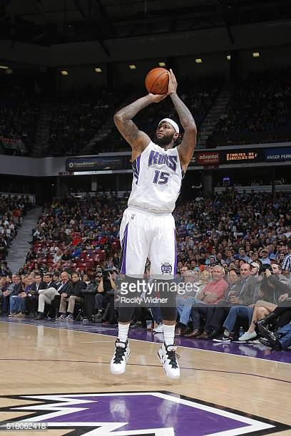 DeMarcus Cousins of the Sacramento Kings shoots the ball during the game against the New Orleans Pelicans on March 16 2016 at Sleep Train Arena in...
