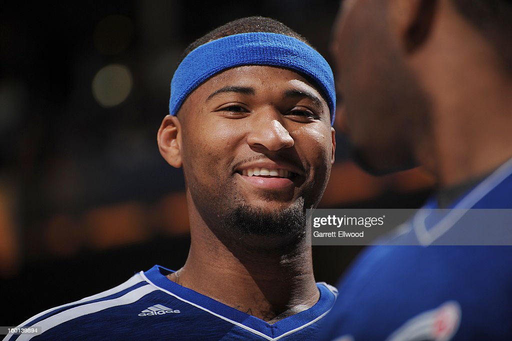 <a gi-track='captionPersonalityLinkClicked' href=/galleries/search?phrase=DeMarcus+Cousins&family=editorial&specificpeople=5792008 ng-click='$event.stopPropagation()'>DeMarcus Cousins</a> #15 of the Sacramento Kings smiles during the game between the Sacramento Kings and the Denver Nuggets on January 26, 2013 at the Pepsi Center in Denver, Colorado.