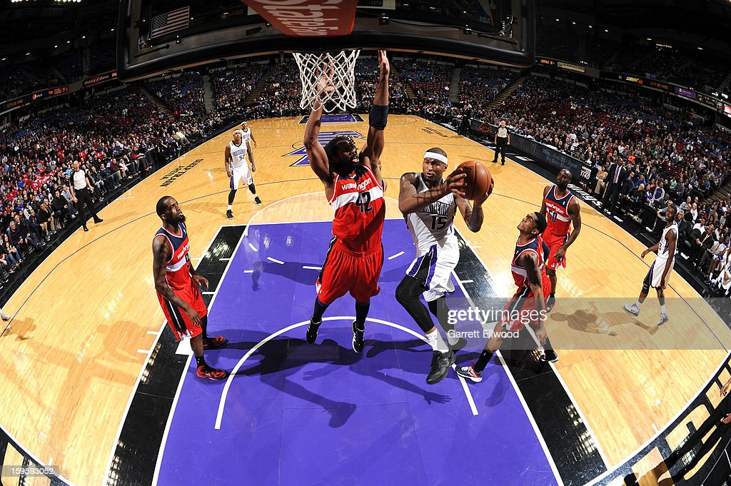 <a gi-track='captionPersonalityLinkClicked' href=/galleries/search?phrase=DeMarcus+Cousins&family=editorial&specificpeople=5792008 ng-click='$event.stopPropagation()'>DeMarcus Cousins</a> #15 of the Sacramento Kings takes the ball to the basket against Nene #42 of the Washington Wizards on January 16, 2013 at Sleep Train Arena in Sacramento, California.