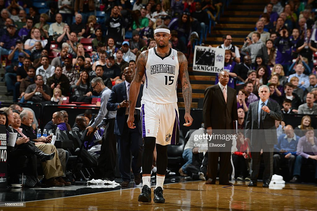 <a gi-track='captionPersonalityLinkClicked' href=/galleries/search?phrase=DeMarcus+Cousins&family=editorial&specificpeople=5792008 ng-click='$event.stopPropagation()'>DeMarcus Cousins</a> #15 of the Sacramento Kings walks up the court during a break in action against the Washington Wizards on January 16, 2013 at Sleep Train Arena in Sacramento, California.