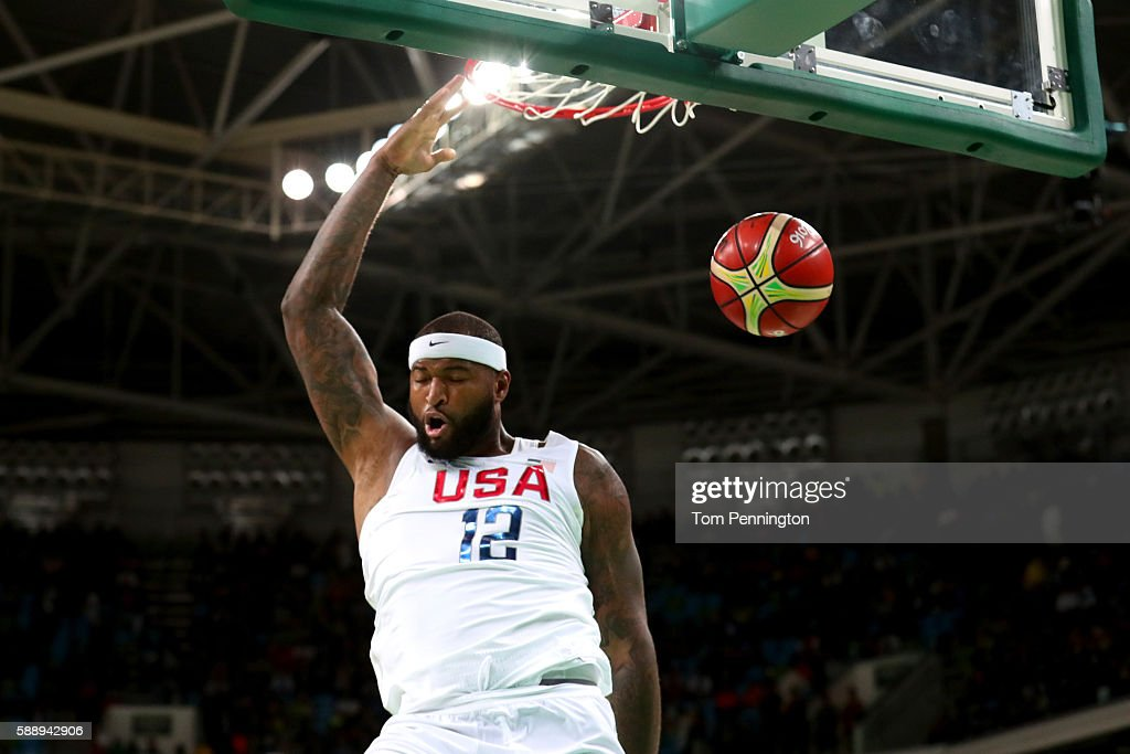 Demarcus Cousins of the United States dunks the ball against Serbia in the Men's Preliminary Round Group A game on Day 7 of the Rio 2016 Olympic...