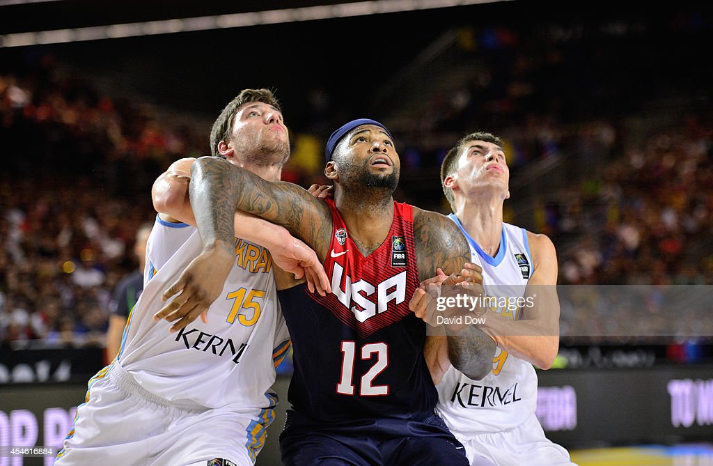 DeMarcus Cousins #12 of the USA Basketball Men's National Team fights for position against of the Ukraine Basketball Team during the FIBA 2014 World Cup Tournament at the Bilbao Exhibition Center on September 04, 2014 in Bilbao, Spain.