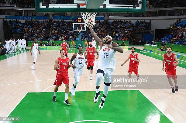 DeMarcus Cousins of the USA Basketball Men's National Team goes up for a dunk against Serbia on Day 7 of the Rio 2016 Olympic Games at Carioca Arena...