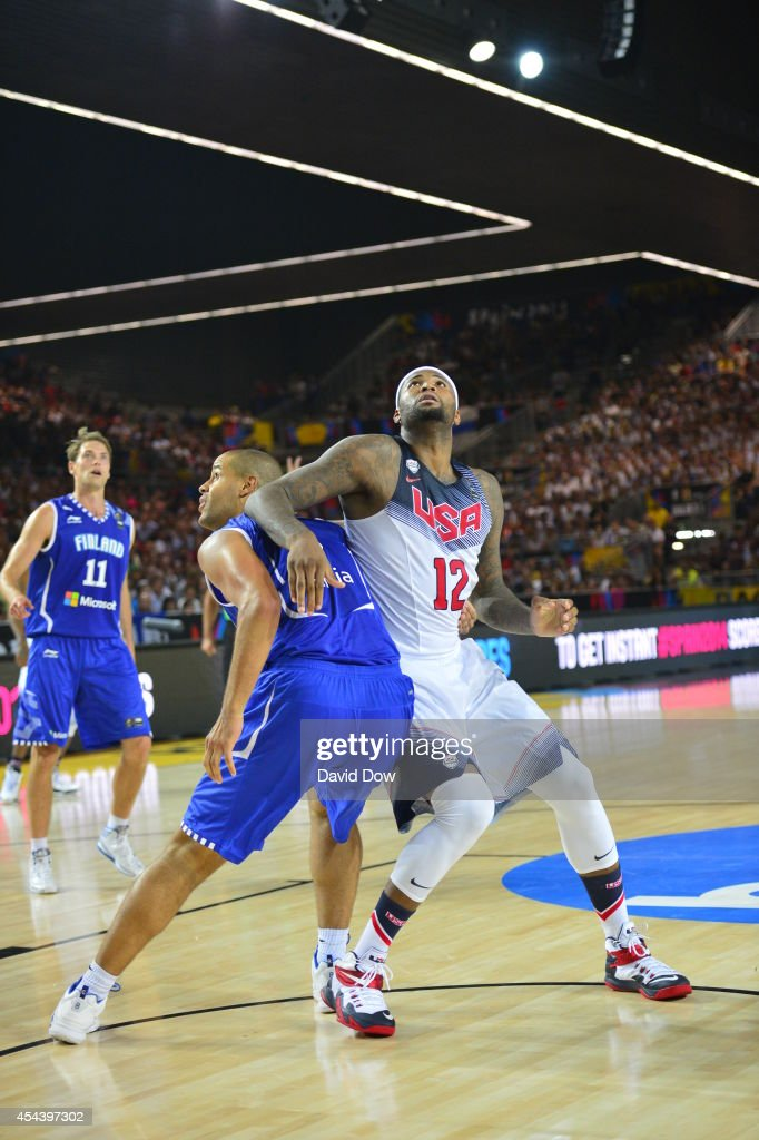 <a gi-track='captionPersonalityLinkClicked' href=/galleries/search?phrase=DeMarcus+Cousins&family=editorial&specificpeople=5792008 ng-click='$event.stopPropagation()'>DeMarcus Cousins</a> #12 of the USA Basketball Men's National Team plays defense against the Finland Nation Basketball Team during the FIBA 2014 World Cup Tournament at the Bilbao Exhibition Center on August 30, 2014 in Bilbao, Spain.