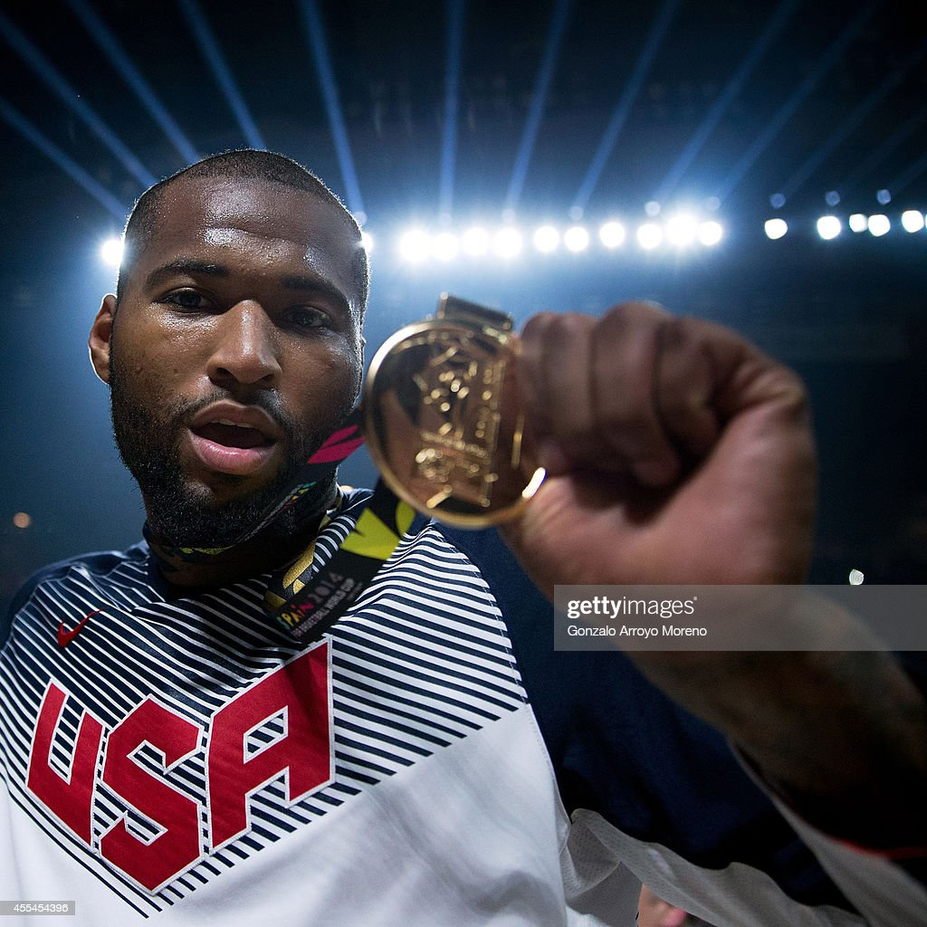 DeMarcus Cousins of the USA shows off his gold medal after Team USA defeats Serbia in the 2014 FIBA World Basketball Championship final match between USA and Serbia at Palacio de los Deportes on September 14, 2014 in Madrid, Spain.