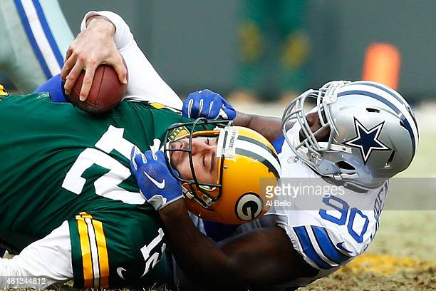 Demarcus Lawrence of the Dallas Cowboys sacks quarterback Aaron Rodgers of the Green Bay Packers in the second quarter of the 2015 NFC Divisional...