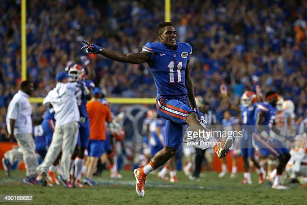 Demarcus Robinson of the Florida Gators reacts after winning a game against the Tennessee Volunteers at Ben Hill Griffin Stadium on September 26 2015...