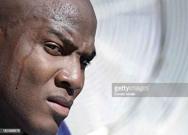 DeMarcus Ware of the Dallas Cowboys looks onto the field during the game against the San Diego Chargers on September 29 2013 at Qualcomm Stadium in...