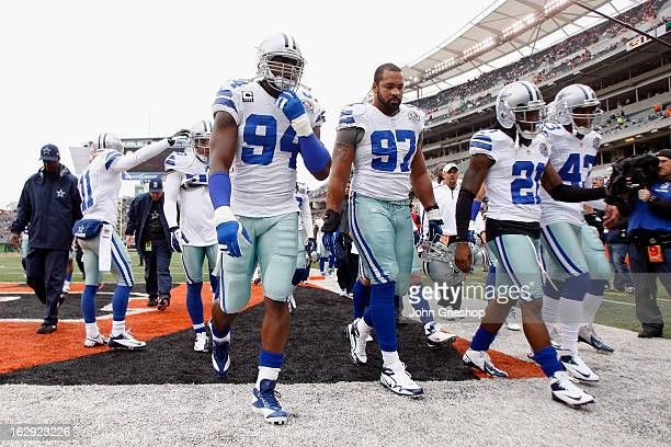 DeMarcus Ware of the Dallas Cowboys walks the field before the game against the Cincinnati Bengals at Paul Brown Stadium on December 9 2012 in...