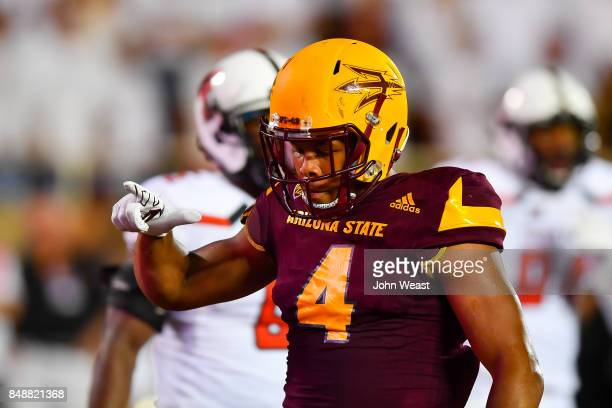 Demario Richard of the Arizona State Sun Devils reacts to scoring a touchdown during the game against the Texas Tech Red Raiders on September 16 2017...