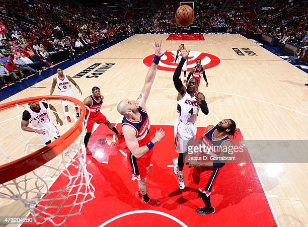DeMarre Carroll of the Atlanta Hawks goes up for the shot against the Washington Wizards in Game five of the Eastern Conference Semifinals of the NBA...