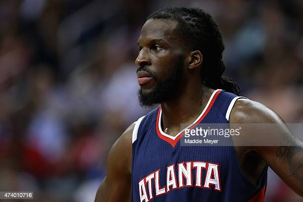 DeMarre Carroll of the Atlanta Hawks looks on during the second quarter against the Washington Wizards at Verizon Center on May 15 2015 in Washington...
