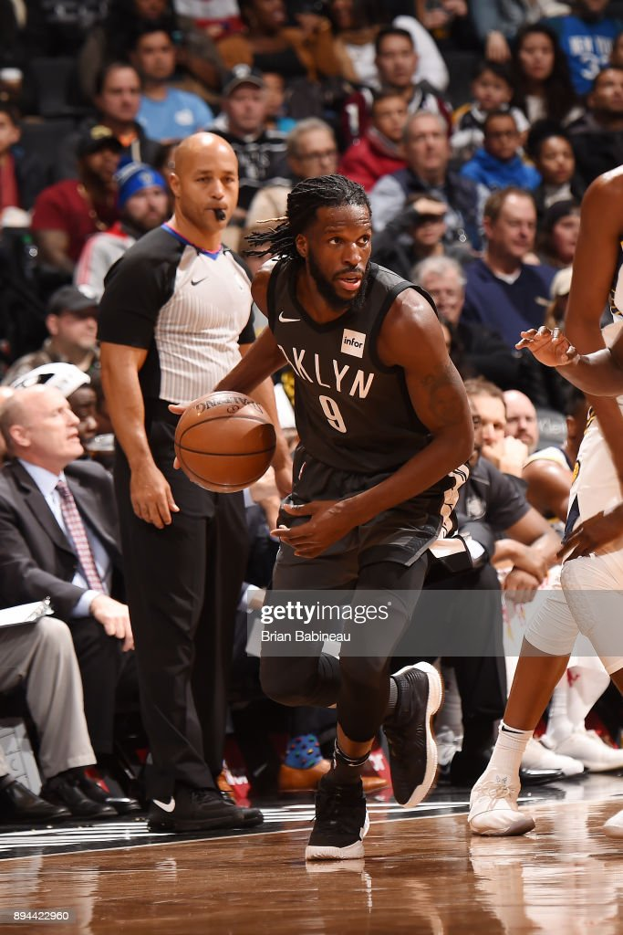 DeMarre Carroll #9 of the Brooklyn Nets handles the ball against the Indiana Pacers on December 17, 2017 at Barclays Center in Brooklyn, New York.