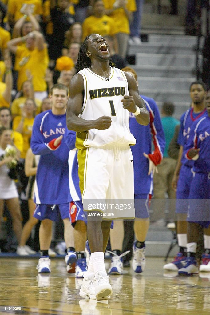 DeMarre Carroll of the Missouri Tigers reacts on court against the Kansas Jayhawks during the game on February 9 2009 at Mizzou Arena in Columbia...