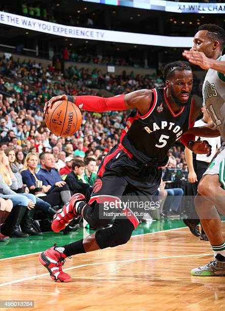 DeMarre Carroll of the Toronto Raptors drives during a game against the Boston Celtics on October 30 2015 at TD Garden in Boston Massachusetts NOTE...
