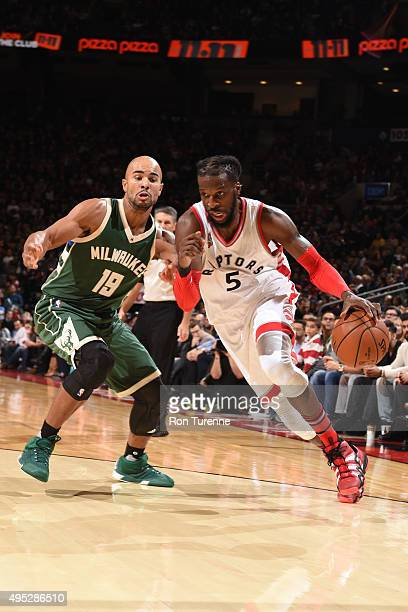 DeMarre Carroll of the Toronto Raptors drives to the basket against the Milwaukee Bucks during the game on November 1 2015 at the Air Canada Centre...
