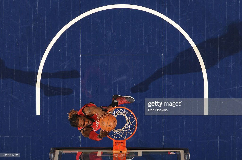 <a gi-track='captionPersonalityLinkClicked' href=/galleries/search?phrase=DeMarre+Carroll&family=editorial&specificpeople=784686 ng-click='$event.stopPropagation()'>DeMarre Carroll</a> #5 of the Toronto Raptors dunks against the Indiana Pacers in Game Six of the Eastern Conference Quarterfinals during the 2016 NBA Playoffs on April 29, 2016 at Bankers Life Fieldhouse in Indianapolis, Indiana.