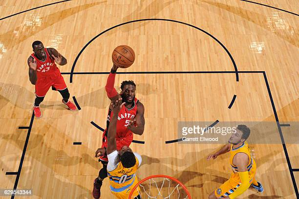 DeMarre Carroll of the Toronto Raptors goes up for a shot during a game against the Denver Nuggets on November 18 2016 at the Pepsi Center in Denver...