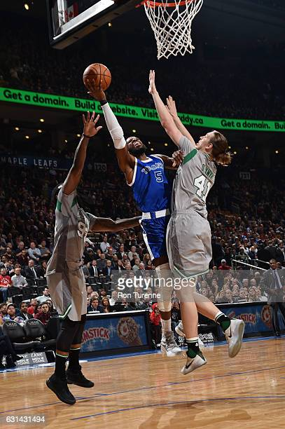 DeMarre Carroll of the Toronto Raptors goes up for a shot during a game against the Boston Celtics on January 10 2017 at the Air Canada Centre in...