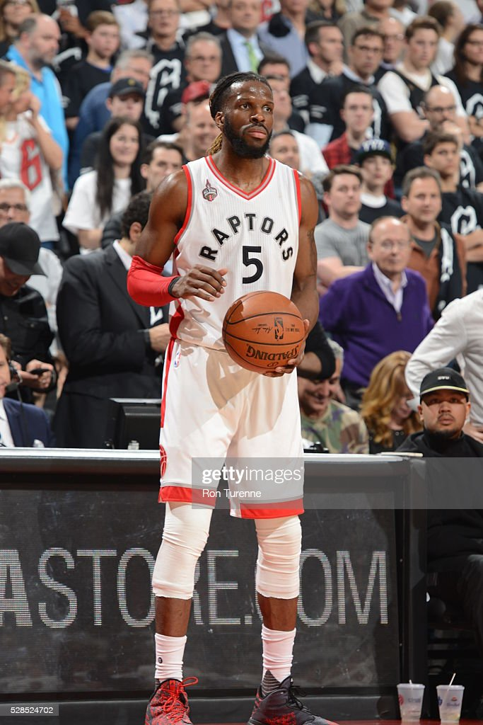 DeMarre Carroll #5 of the Toronto Raptors handles the ball against the Miami Heat in Game Two of the Eastern Conference Semifinals on May 5, 2016 at the Air Canada Centre in Toronto, Ontario, Canada.