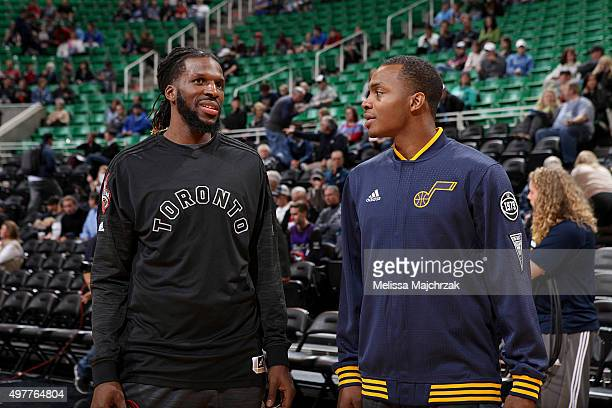 DeMarre Carroll of the Toronto Raptors has a discussion with Elijah Millsap of the Utah Jazz before the game on November 18 2015 at EnergySolutions...