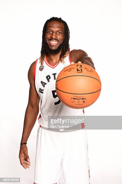 DeMarre Carroll of the Toronto Raptors poses for a photo during media day on September 28 at the Air Canada Centre in Toronto Ontario Canada NOTE TO...