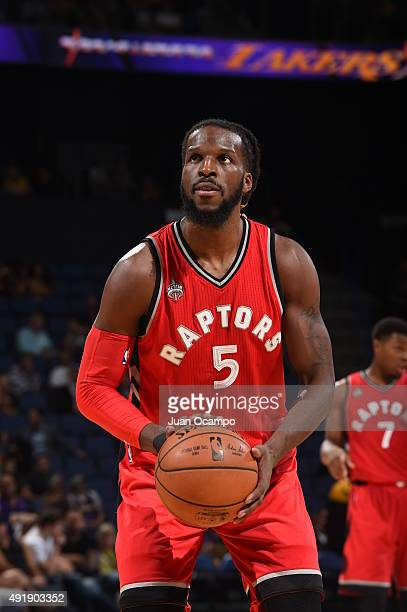 DeMarre Carroll of the Toronto Raptors prepares to shoot a free throw against the Los Angeles Lakers during a preseason game on October 8 2015 at...