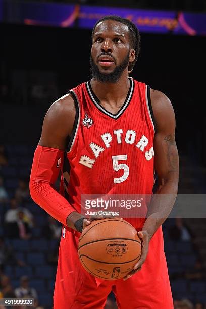 DeMarre Carroll of the Toronto Raptors shoots a foul shot against the Los Angeles Lakers during a preseason game on October 08 2015 at Citizens Bank...