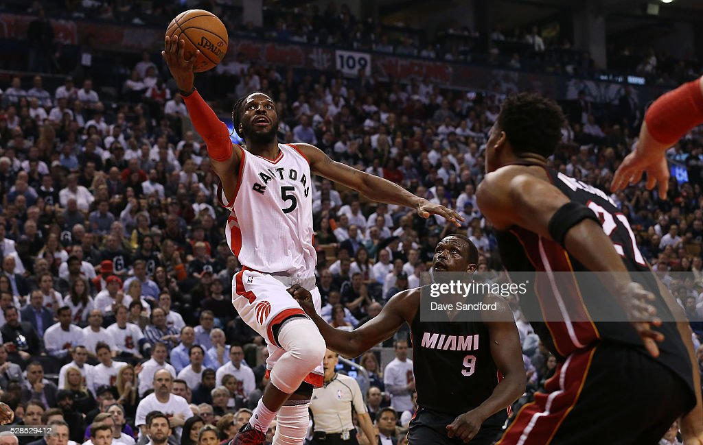 DeMarre Carroll #5 of the Toronto Raptors shoots the ball against the Miami Heat in Game Two of the Eastern Conference Semifinals on May 5, 2016 at the Air Canada Centre in Toronto, Ontario, Canada.