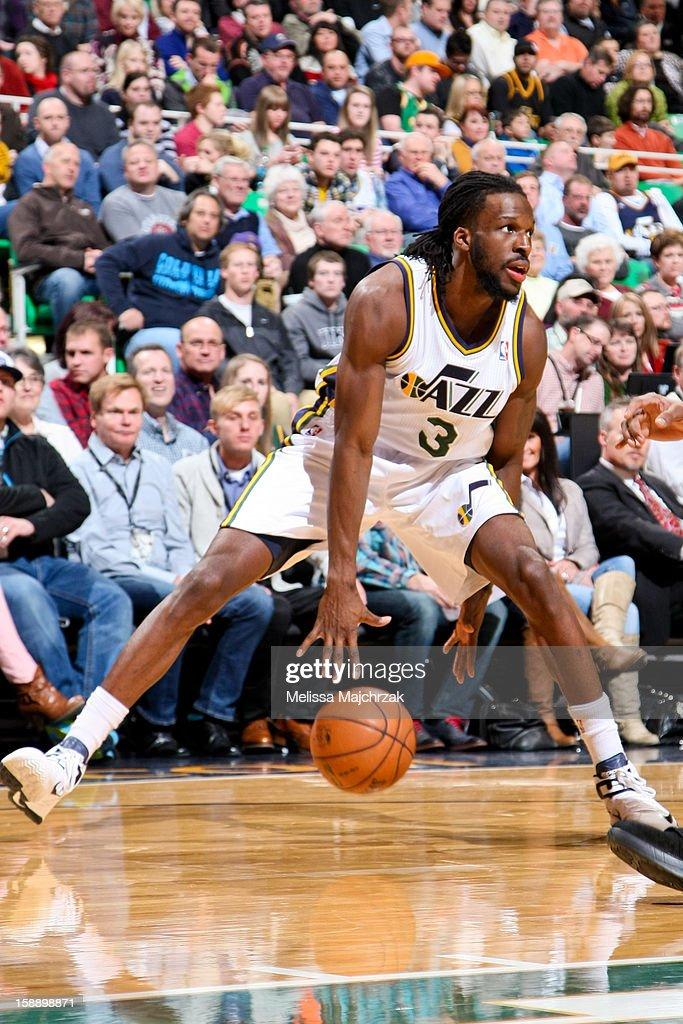 DeMarre Carroll #3 of the Utah Jazz dribbles the ball between his legs against the Minnesota Timberwolves at Energy Solutions Arena on January 2, 2013 in Salt Lake City, Utah.