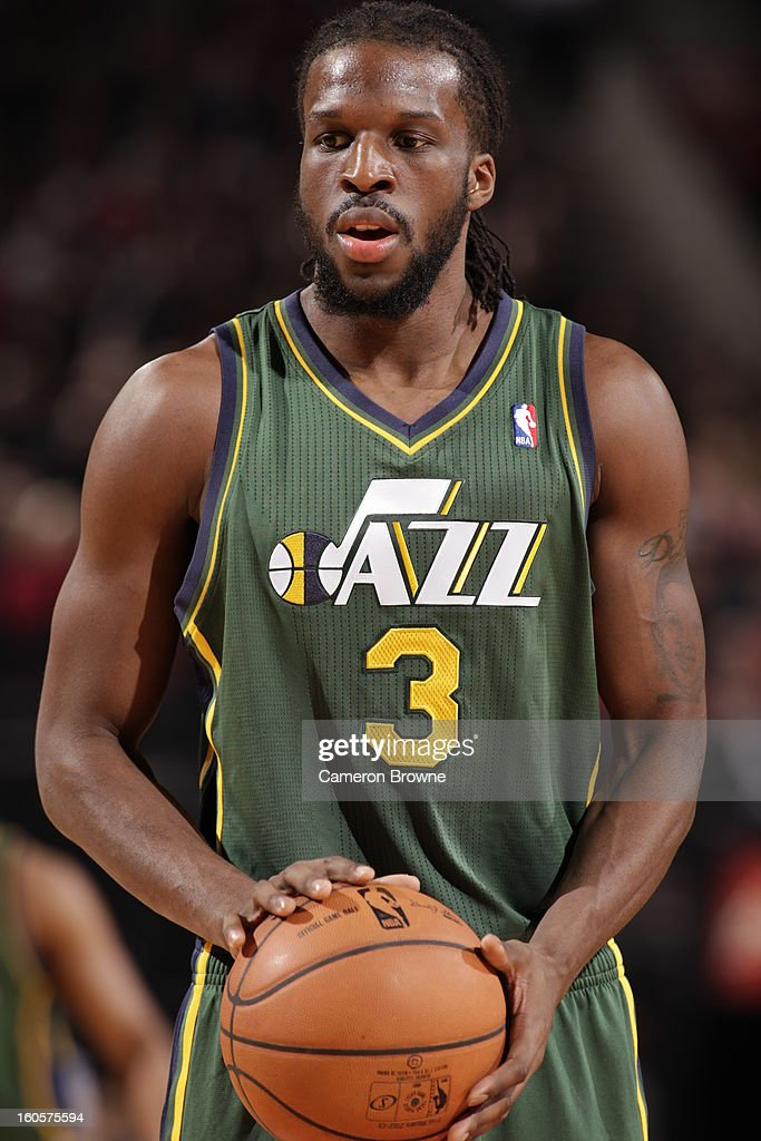 DeMarre Carroll #3 of the Utah Jazz looks on during the game between the Utah Jazz and the Portland Trail Blazers on February 2, 2013 at the Rose Garden Arena in Portland, Oregon.