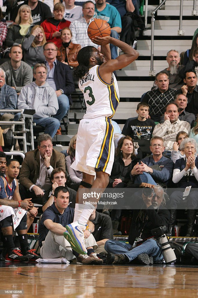 Demarre Carroll #3 of the Utah Jazz puts up the three point shot during play against the Atlantic Hawks at Energy Solutions Arena on February 27, 2013 in Salt Lake City, Utah.
