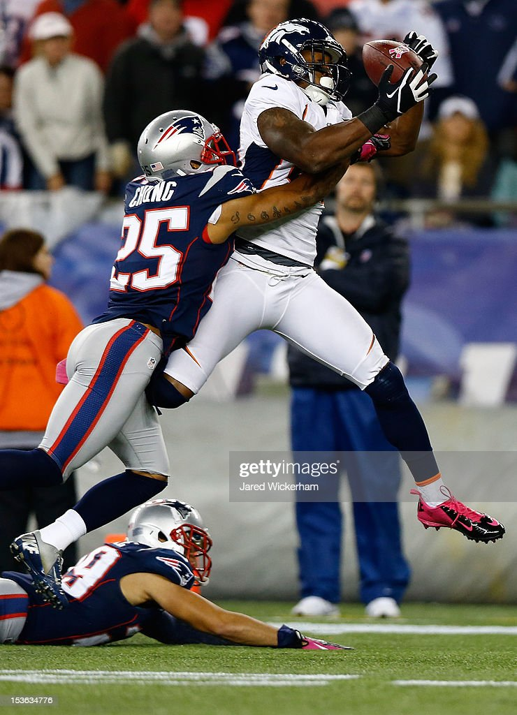 Demaryius Thomas #88 of the Denver Broncos catches a 28-yard pass over Patrick Chung #25 of the New England Patriots in the second half during the game on October 7, 2012 at Gillette Stadium in Foxboro, Massachusetts.