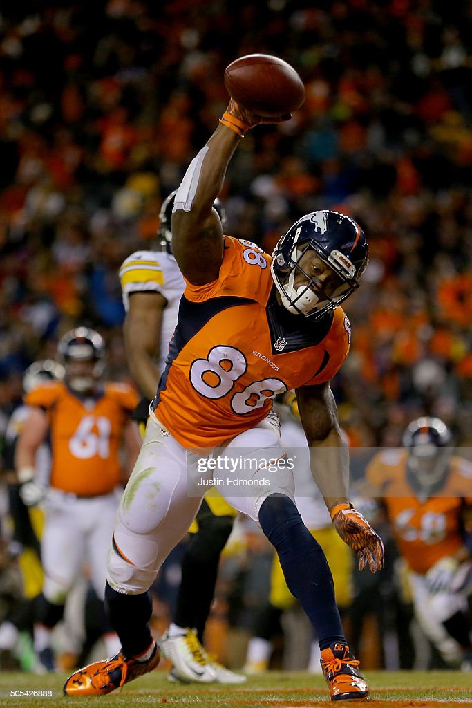 <a gi-track='captionPersonalityLinkClicked' href=/galleries/search?phrase=Demaryius+Thomas&family=editorial&specificpeople=4536795 ng-click='$event.stopPropagation()'>Demaryius Thomas</a> #88 of the Denver Broncos celebrates after scoring the two point conversion in the fourth quarter against the Pittsburgh Steelers during the AFC Divisional Playoff Game at Sports Authority Field at Mile High on January 17, 2016 in Denver, Colorado.