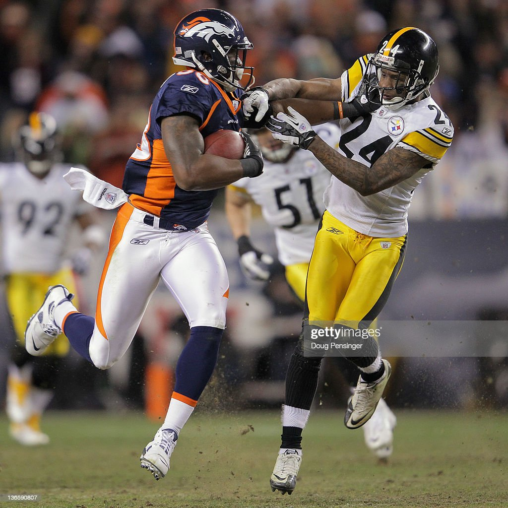 <a gi-track='captionPersonalityLinkClicked' href=/galleries/search?phrase=Demaryius+Thomas&family=editorial&specificpeople=4536795 ng-click='$event.stopPropagation()'>Demaryius Thomas</a> #88 of the Denver Broncos makes a pass reception and fights off <a gi-track='captionPersonalityLinkClicked' href=/galleries/search?phrase=Ike+Taylor&family=editorial&specificpeople=748703 ng-click='$event.stopPropagation()'>Ike Taylor</a> #24 of the Pittsburgh Steelers to go 80 yards for the game winning touchdown on the first play of overtime at Sports Authority Field at Mile High on January 8, 2012 in Denver, Colorado. The Broncos defeated the Steelers 29-23 in their AFC Wild Card Playoff game.