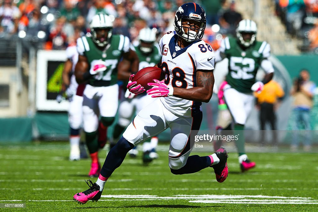 Demaryius Thomas #88 of the Denver Broncos runs the ball in the first quarter during a game against the New York Jets at MetLife Stadium on October 12, 2014 in East Rutherford, New Jersey.