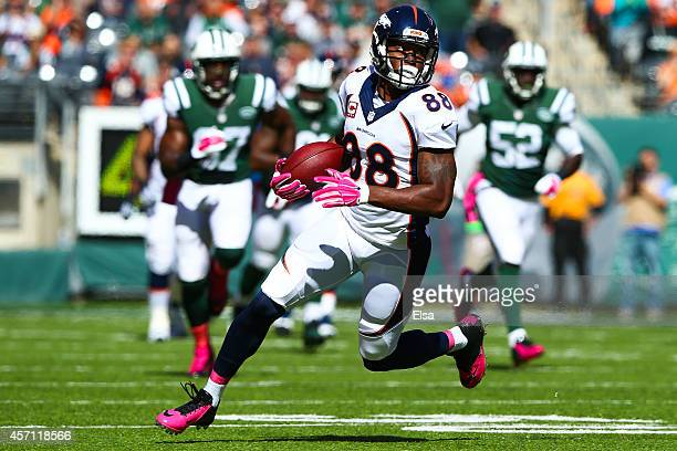 Demaryius Thomas of the Denver Broncos runs the ball in the first quarter during a game against the New York Jets at MetLife Stadium on October 12...