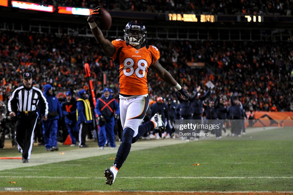 <a gi-track='captionPersonalityLinkClicked' href=/galleries/search?phrase=Demaryius+Thomas&family=editorial&specificpeople=4536795 ng-click='$event.stopPropagation()'>Demaryius Thomas</a> #88 of the Denver Broncos scores a 17-yard touchdown reception in the fourth quarter against the Baltimore Ravens during the AFC Divisional Playoff Game at Sports Authority Field at Mile High on January 12, 2013 in Denver, Colorado.