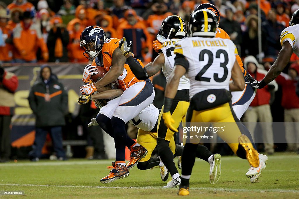 Demaryius Thomas #88 of the Denver Broncos scores the two point conversion in the fourth quarter against the Pittsburgh Steelers during the AFC Divisional Playoff Game at Sports Authority Field at Mile High on January 17, 2016 in Denver, Colorado.