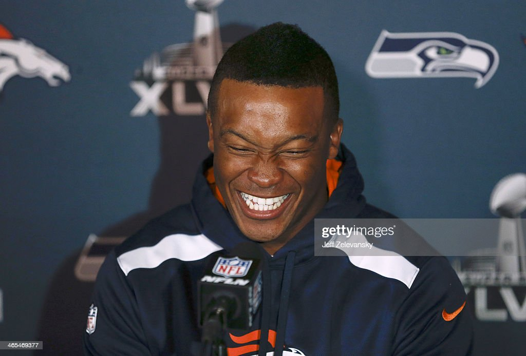 <a gi-track='captionPersonalityLinkClicked' href=/galleries/search?phrase=Demaryius+Thomas&family=editorial&specificpeople=4536795 ng-click='$event.stopPropagation()'>Demaryius Thomas</a> of the Denver Broncos speaks to the media during Super Bowl XLVIII media availability January 27, 2014 in Jersey City, New Jersey. The Denver Broncos and Seattle Seahawks will meet at Super Bowl XLVIII at Metlife Stadium on February 2, 2014.