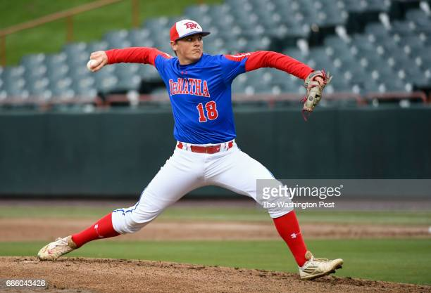 DeMatha starting pitcher Thomas Keehn delivers during action against Riverdale Baptist in Bowie MD on April 7 2017