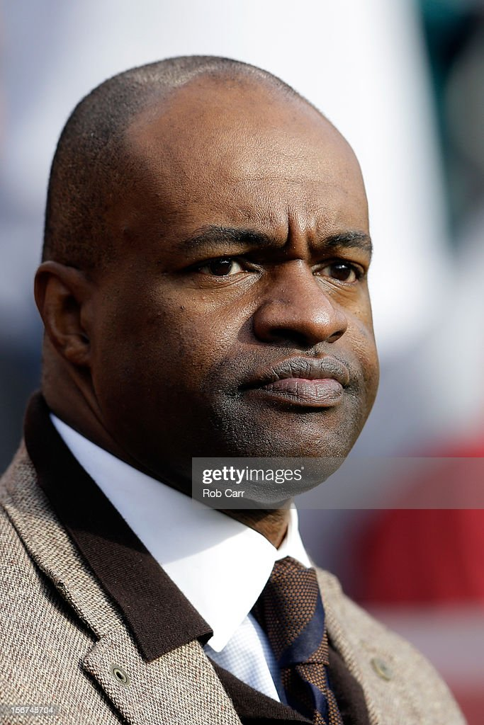 DeMaurice Smith, executive director of the National Football League Players' Association, stands on the field before the start of the Washington Redskins and Philadelphia Eagles game at FedEx Field on November 18, 2012 in Washington, DC.