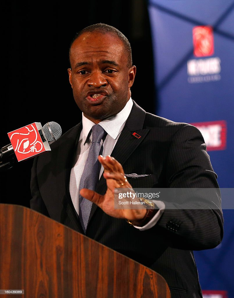 DeMaurice Smith, Executive Director of the National Football League Players Association, addresses the media at the NFL Players Association annual state of the union press conference in the media center on January 31, 2013 in New Orleans, Louisiana. The Ravens will take on the San Francisco 49ers on February 3, 2013 at the Mercedes-Benz Superdome.